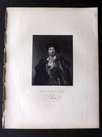 Fisher (Pub) 1845 Antique Portrait Print. Kemble in the Character of Hamlet